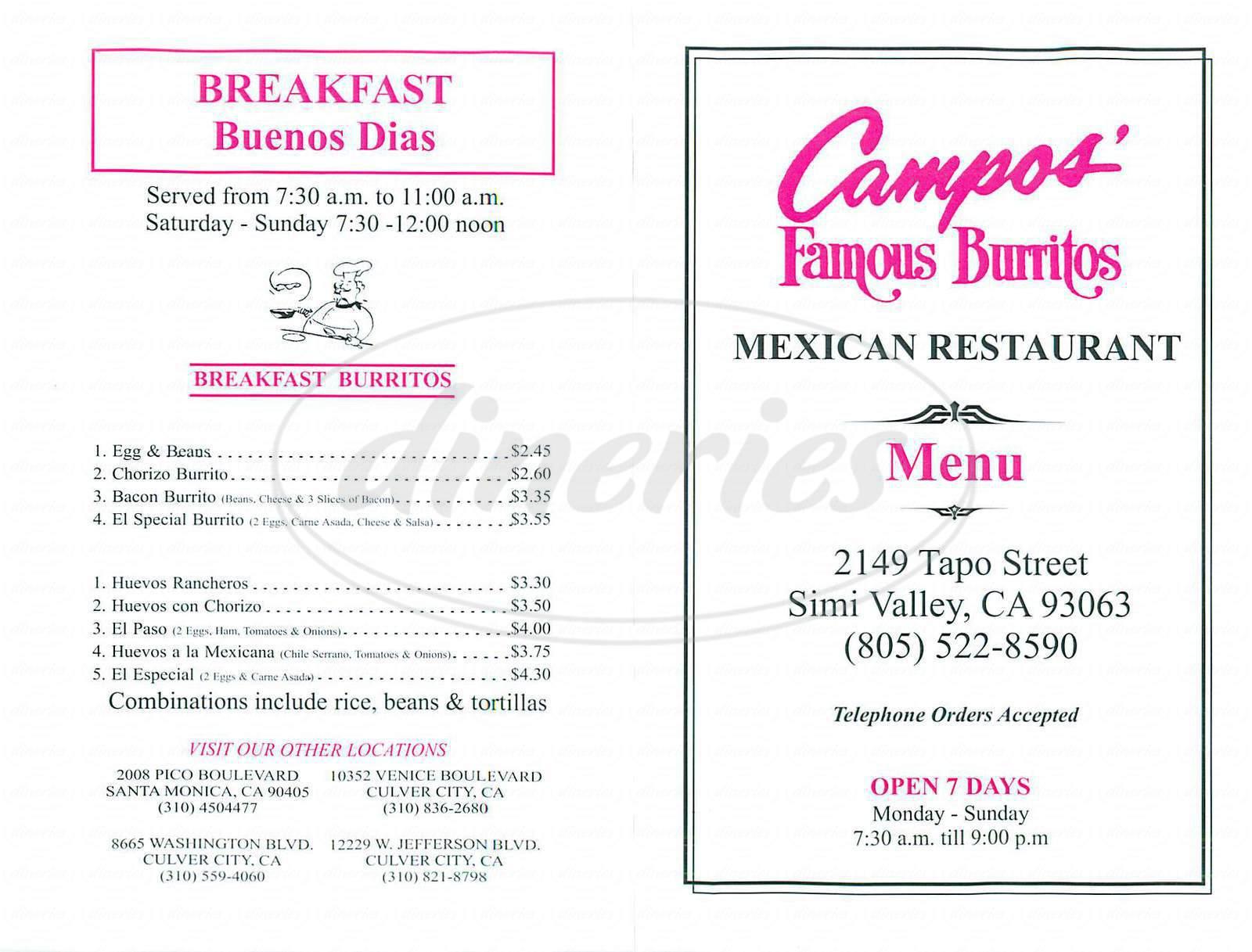 menu for Campos Famous Burritos