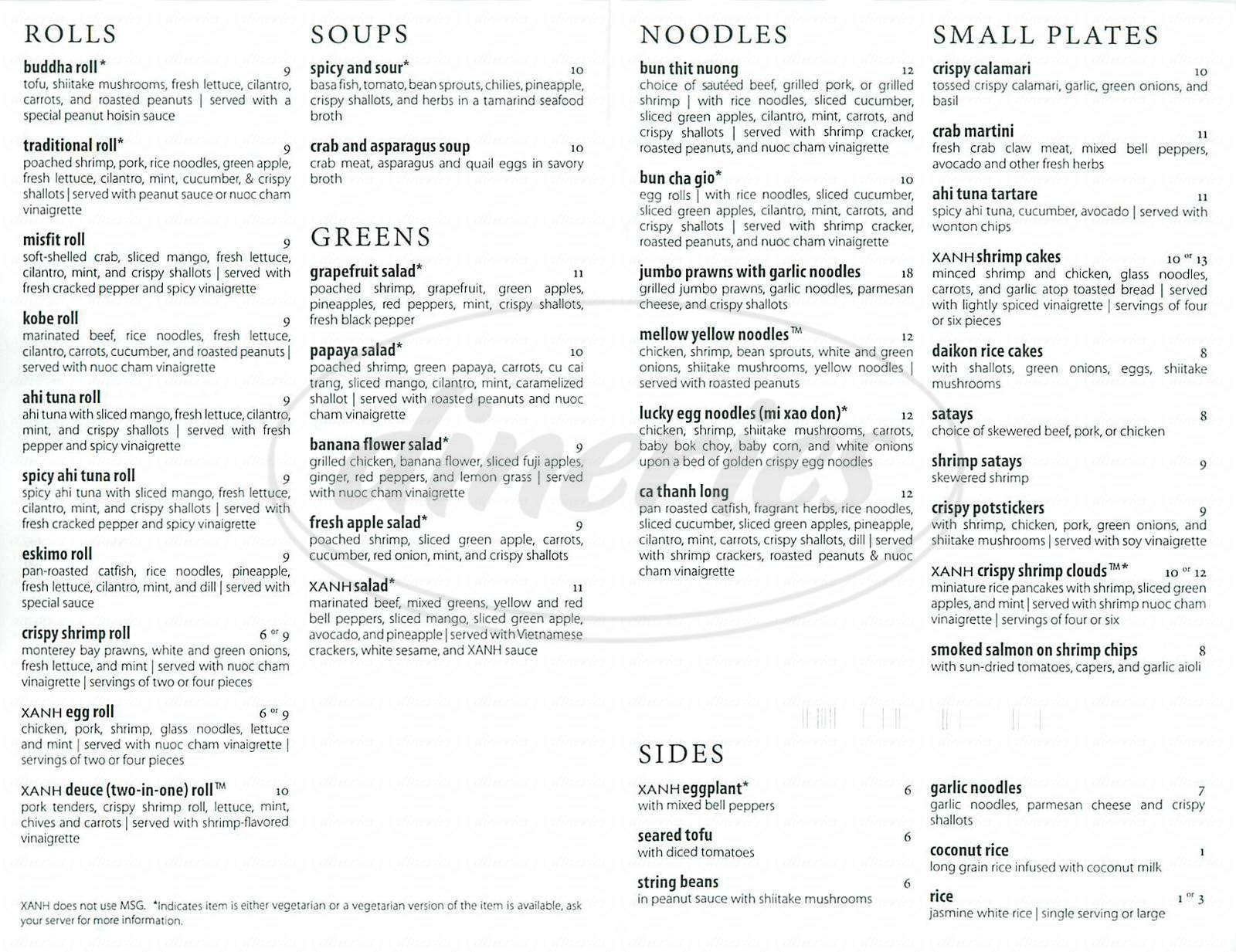 menu for Xanh Restaurant