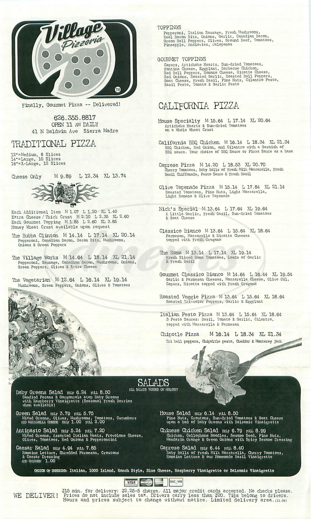 menu for Village Pizzeria