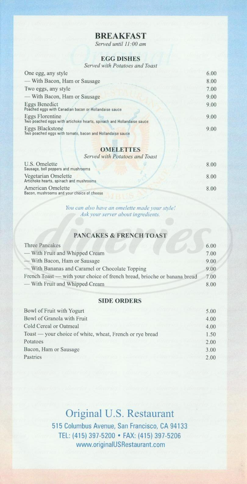 menu for Original US Restaurant