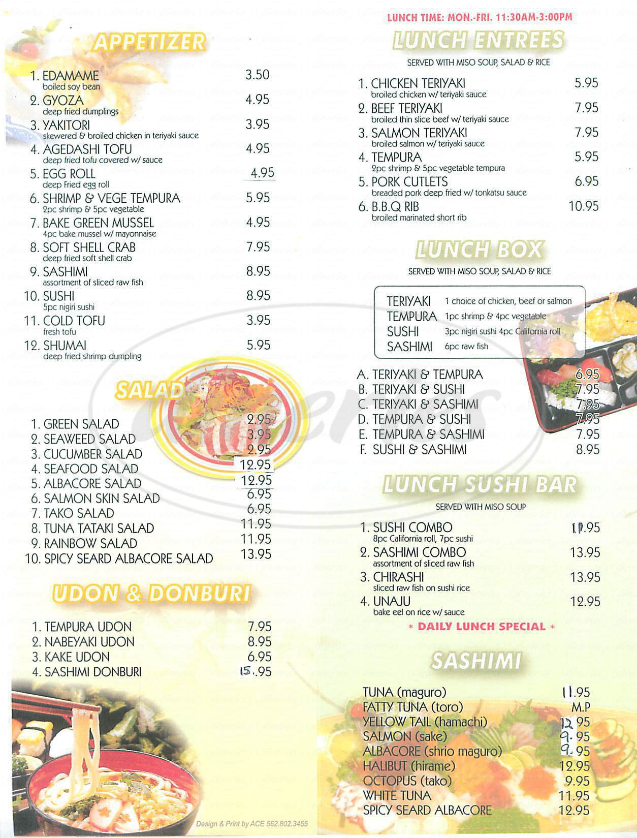 menu for Hai Sushi