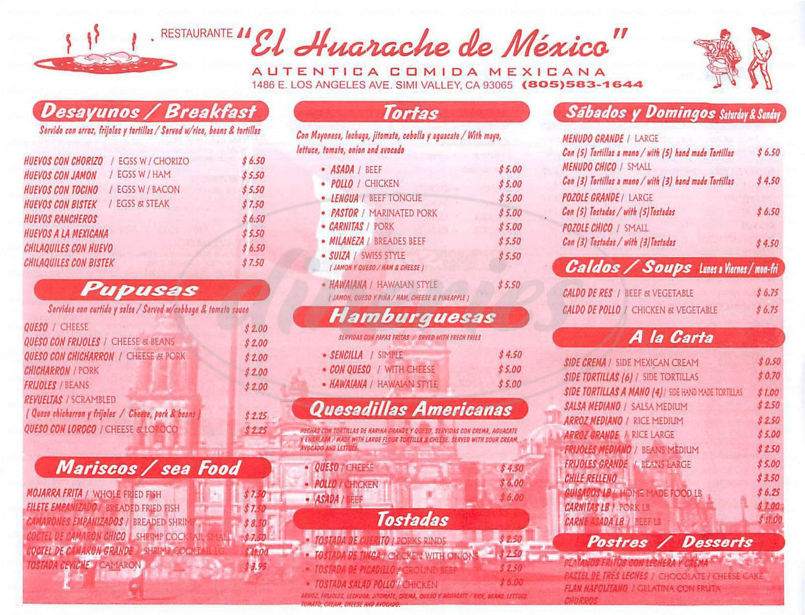 menu for Huarache de Mexico
