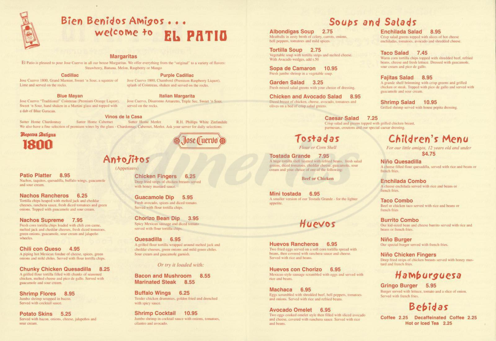 El Patio Menu - Simi Valley - Dineries