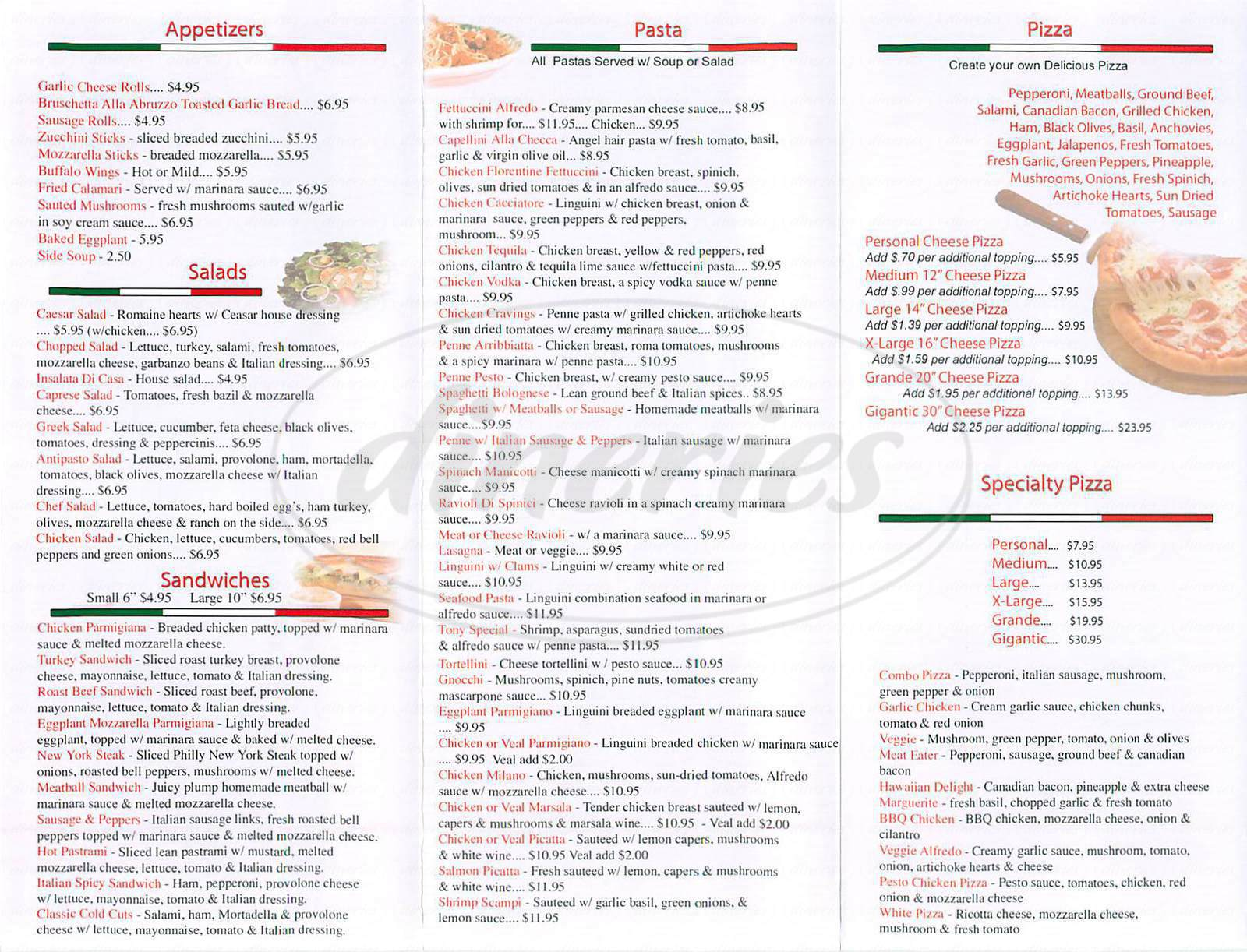 menu for Italian Cravings Pizzeria