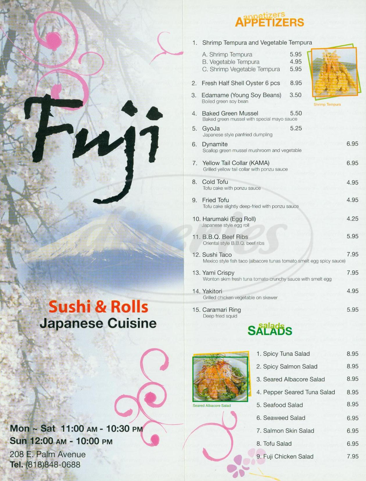 menu for Fuji Japanese Cuisine