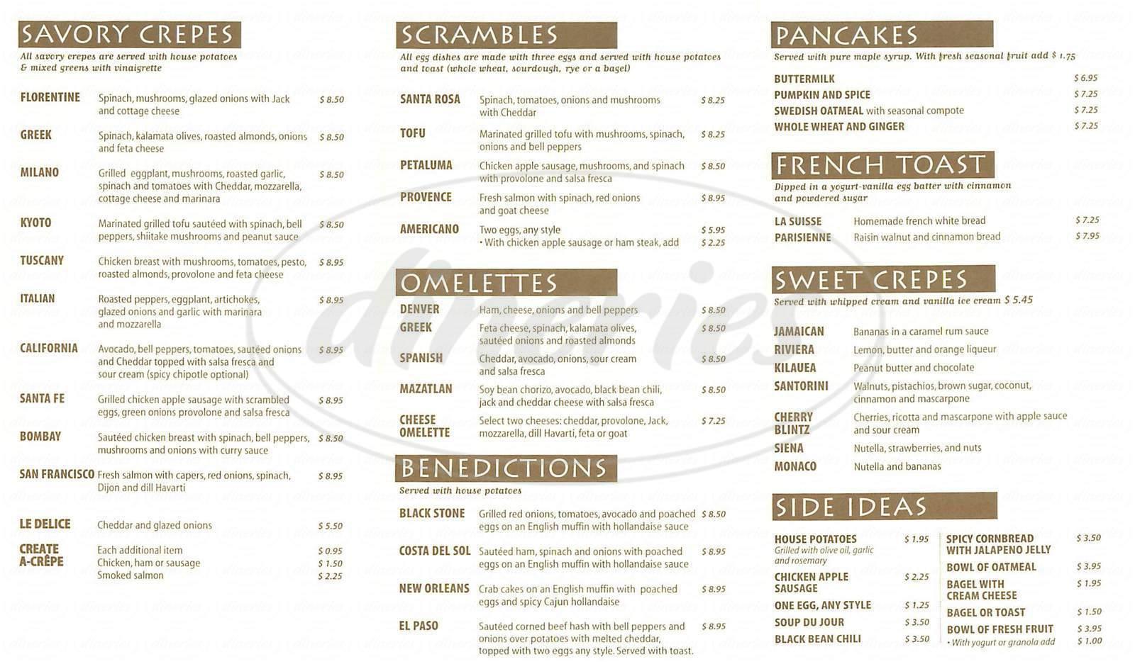 menu for Crepevine