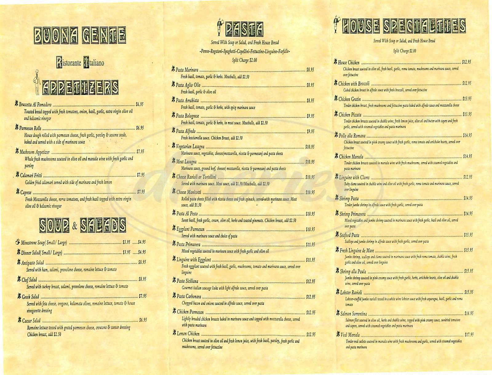 menu for Buona Gente