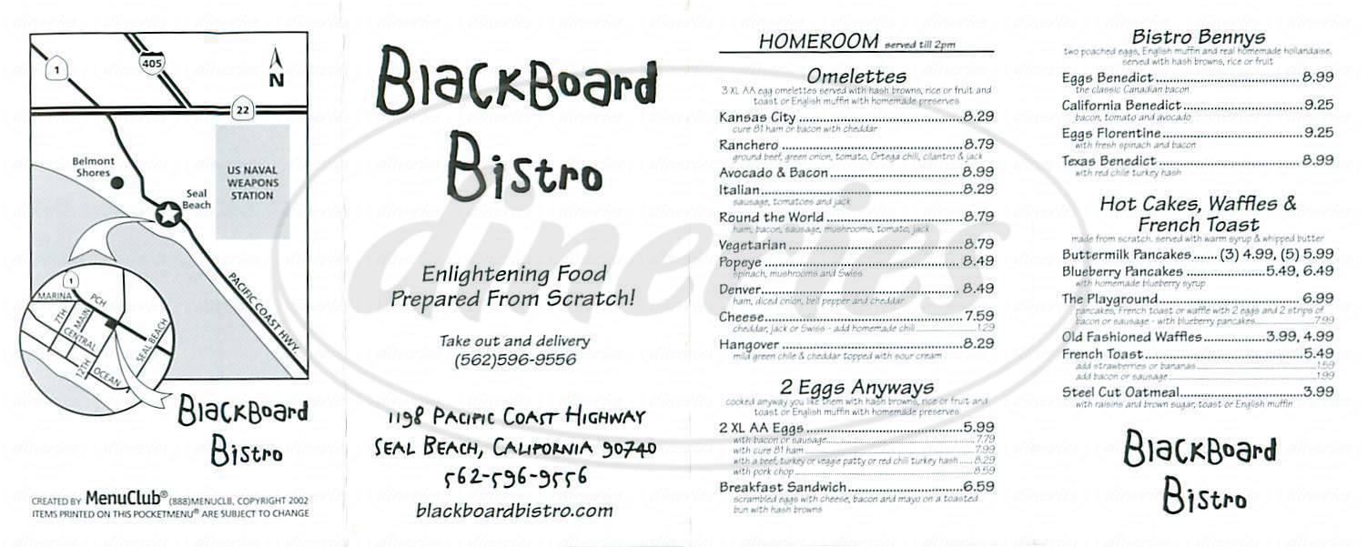menu for Blackboard Bistro