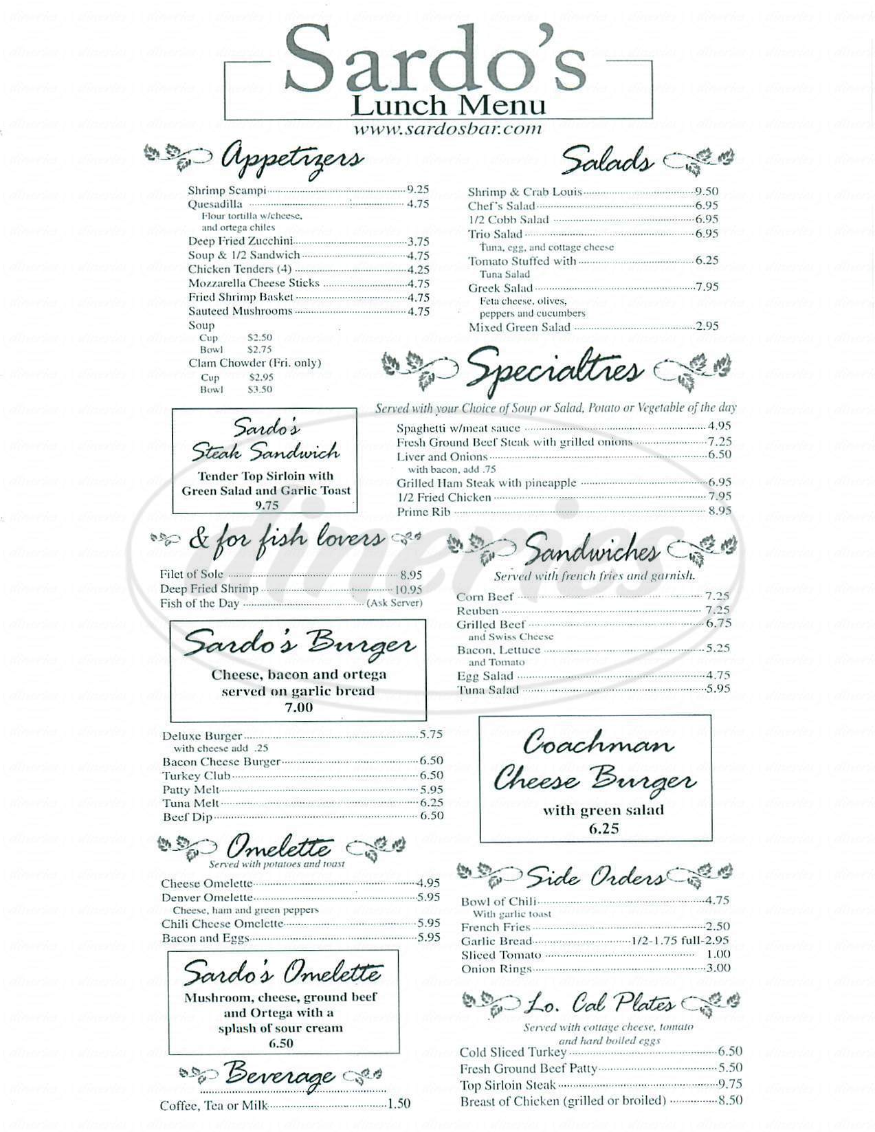 menu for Sardo's Restaurant