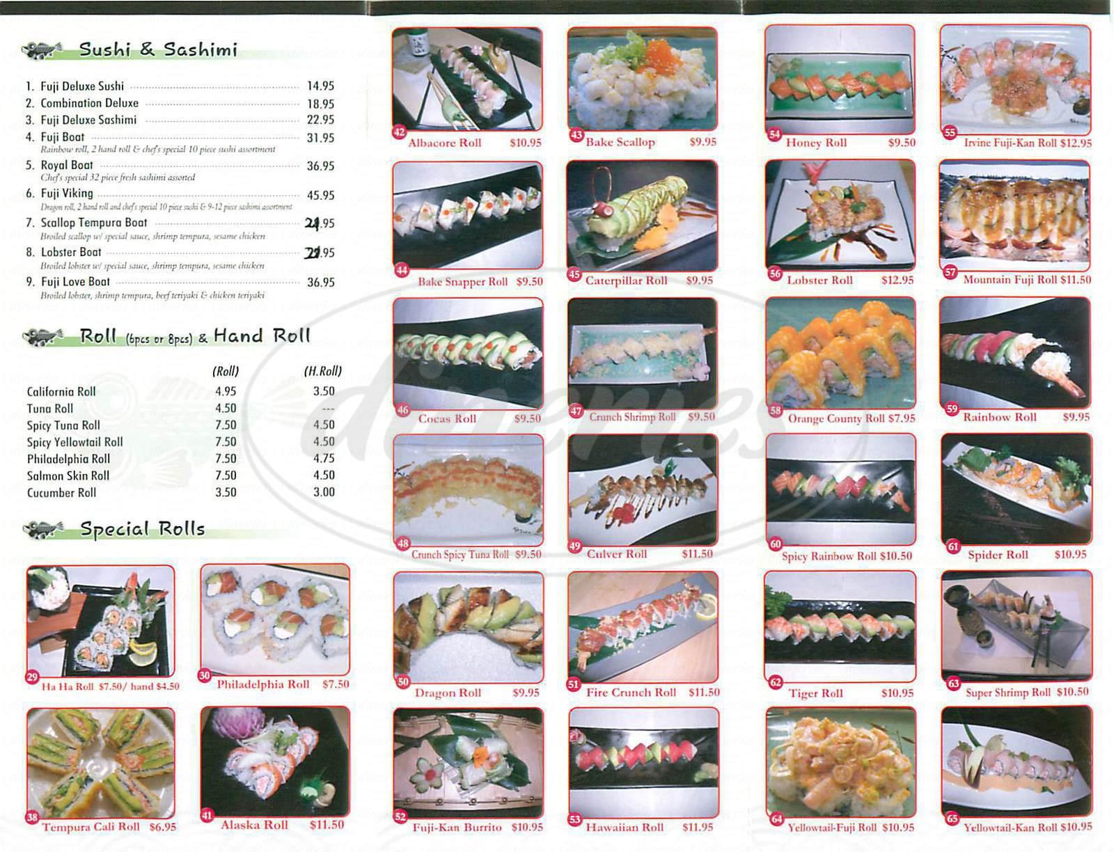 menu for Fuji Kan