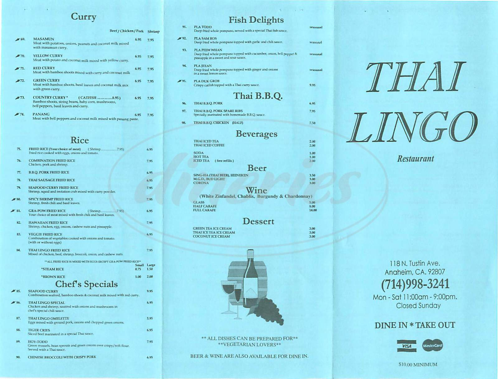 menu for Thai Lingo