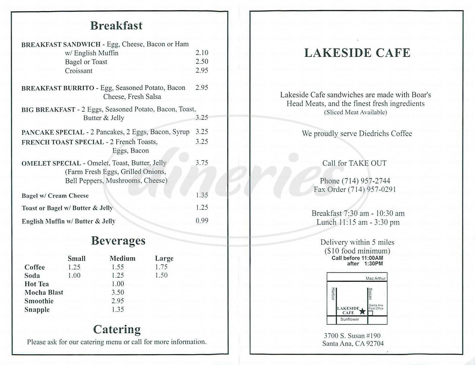 menu for Lakeside Café