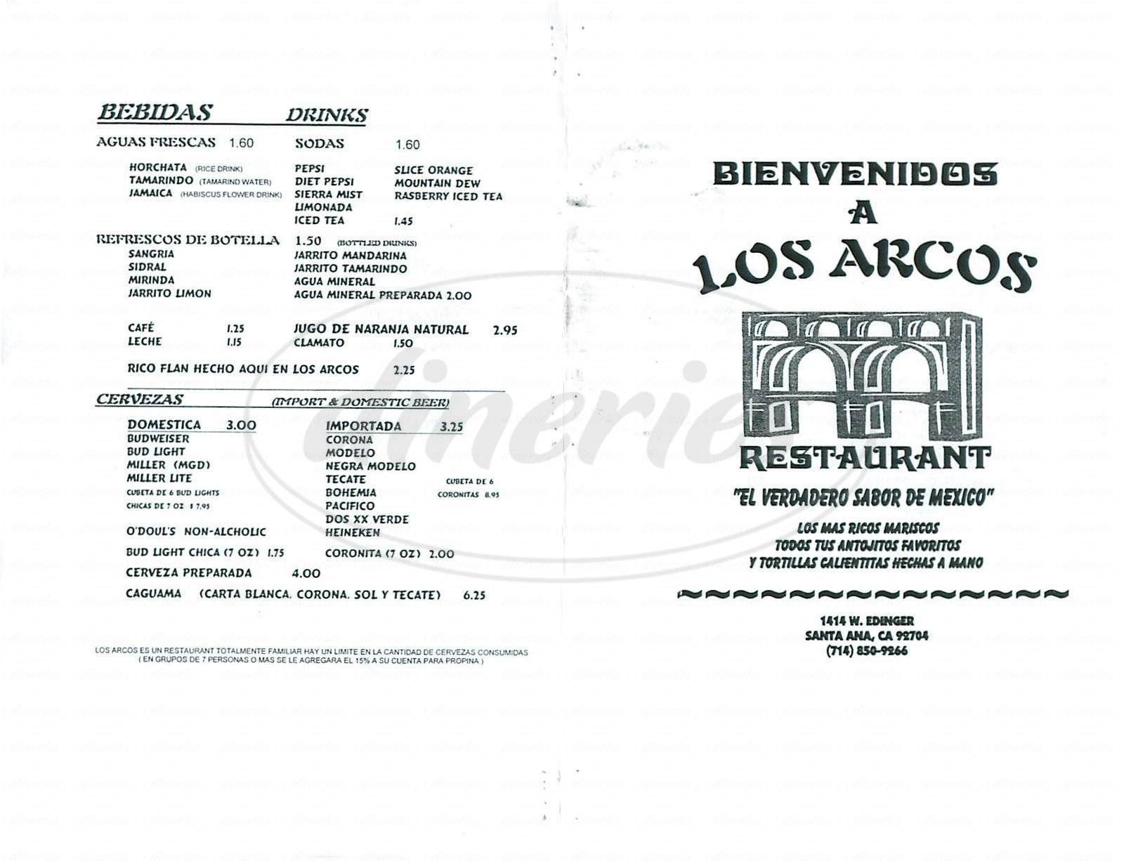 menu for Los Arcos Restaurant