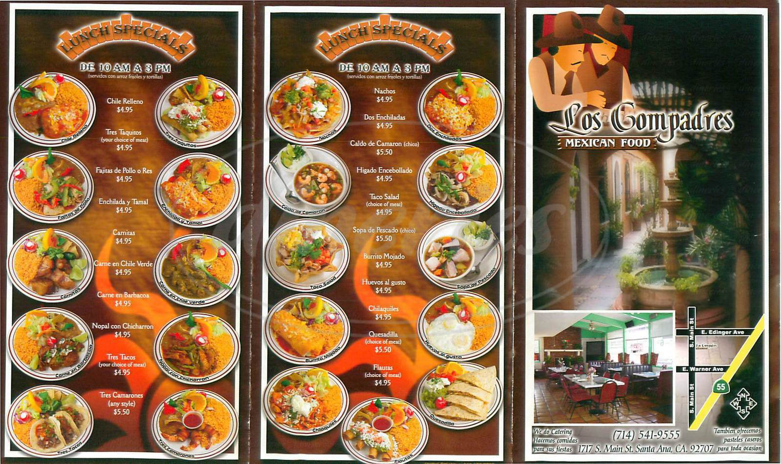 menu for Los Compadres Mexican Food