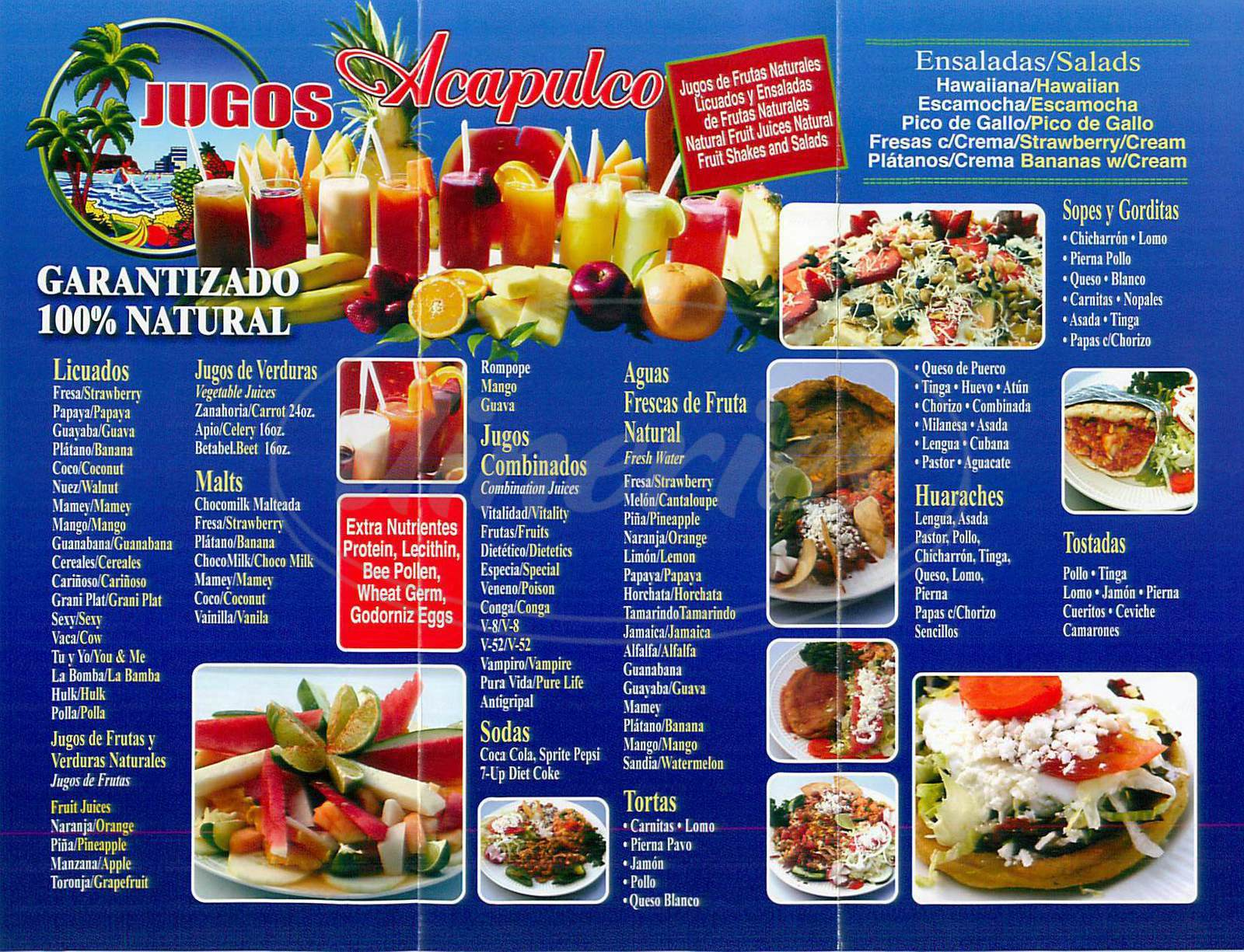 menu for Jugos Acapulco