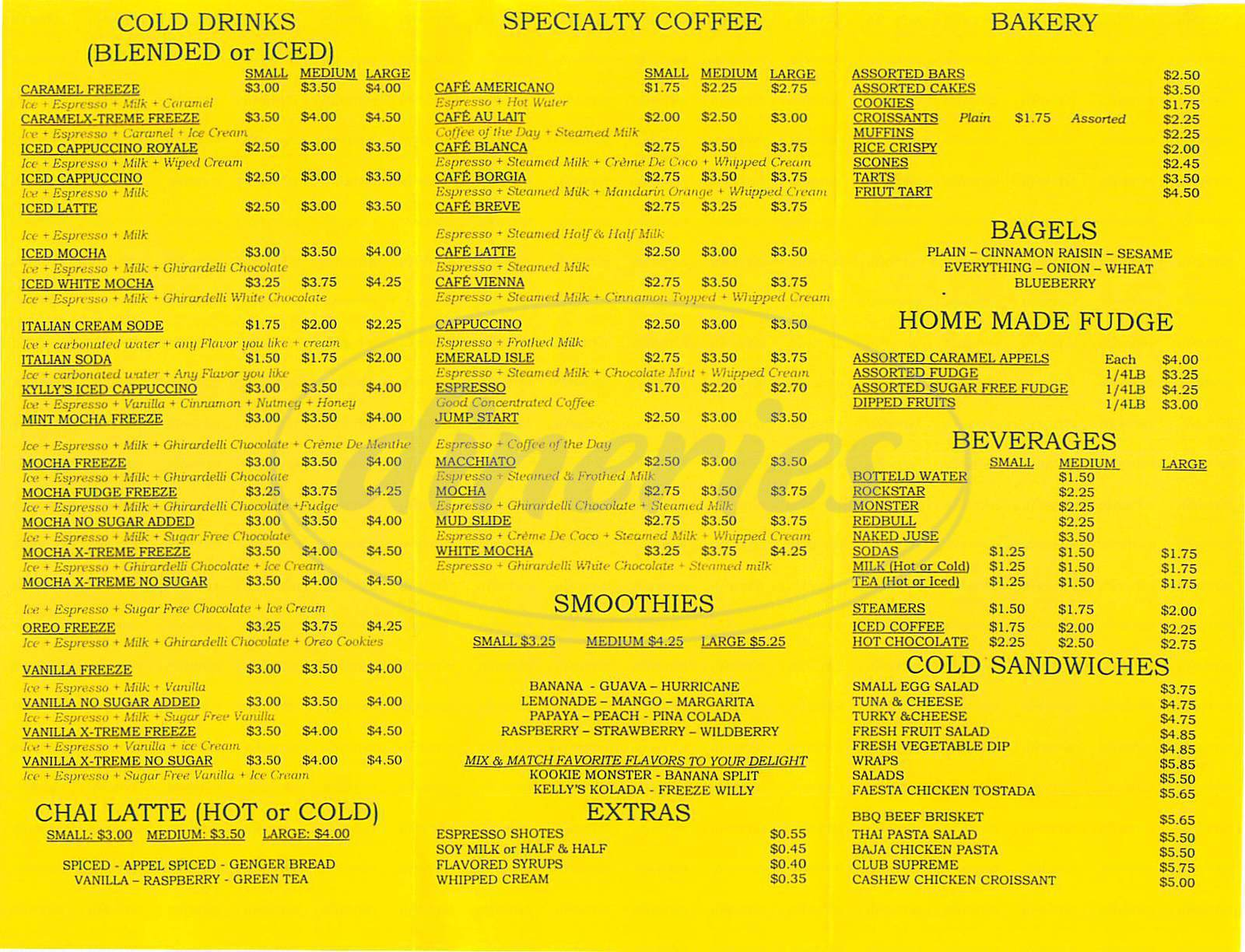 menu for Kellys Coffee and Fudge