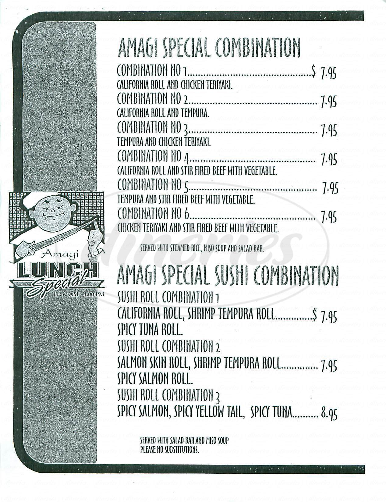 menu for Amagi Japanese-Thai Cuisine