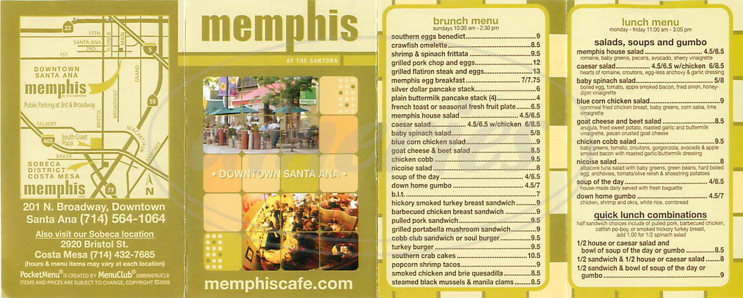 menu for Memphis Cafe