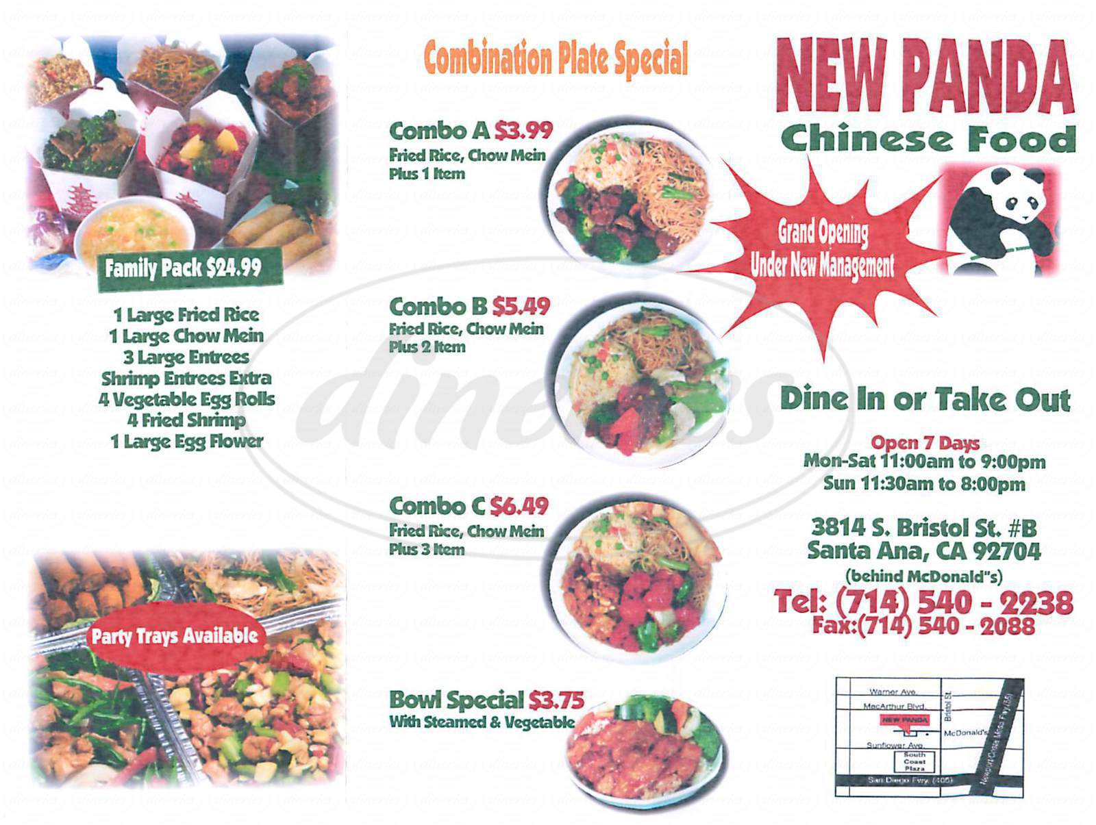 menu for New Panda Chinese Food
