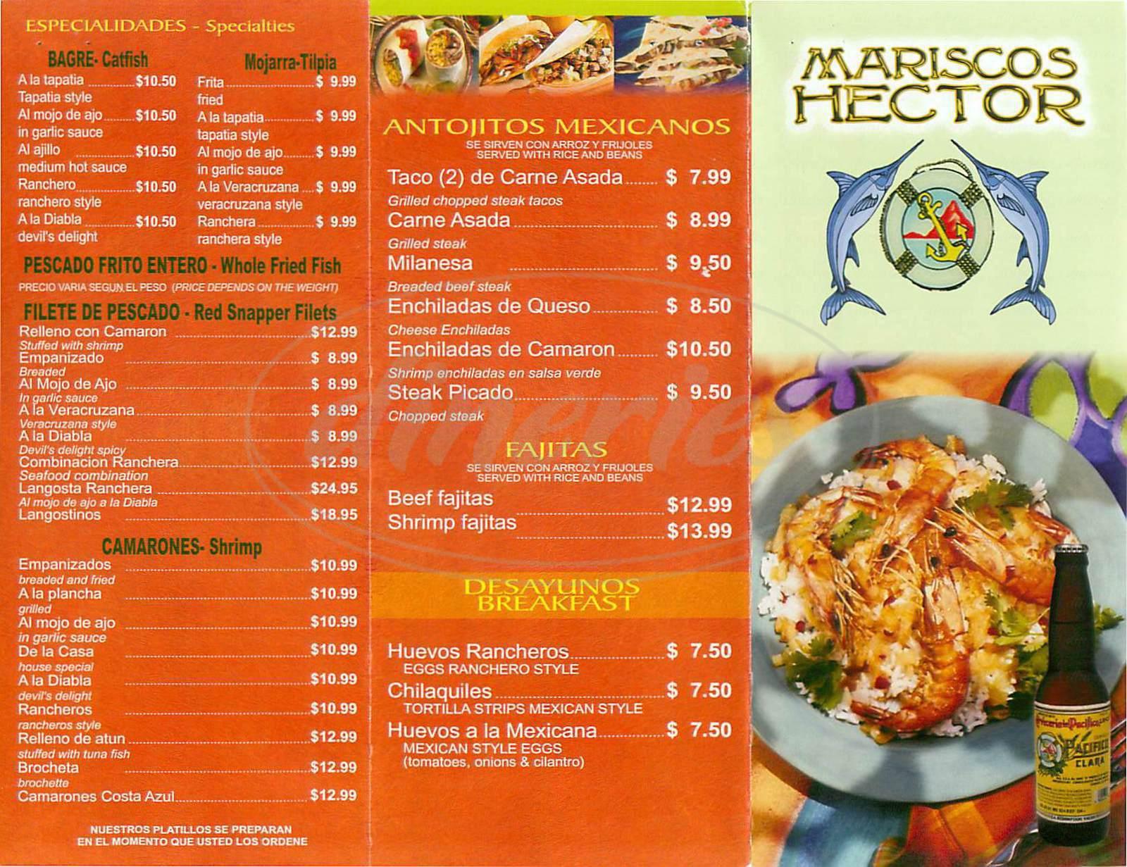 menu for Mariscos Hector