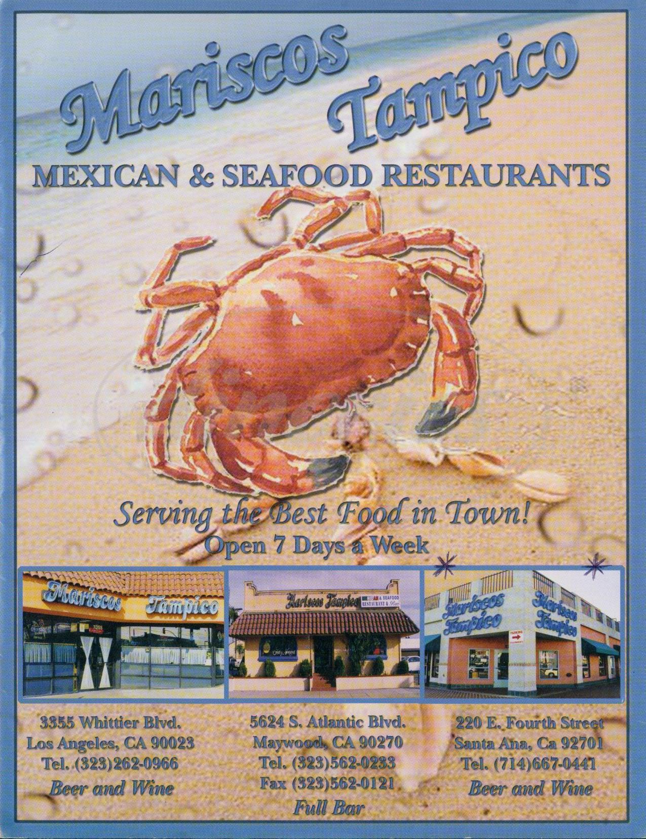 menu for Mariscos Tampico