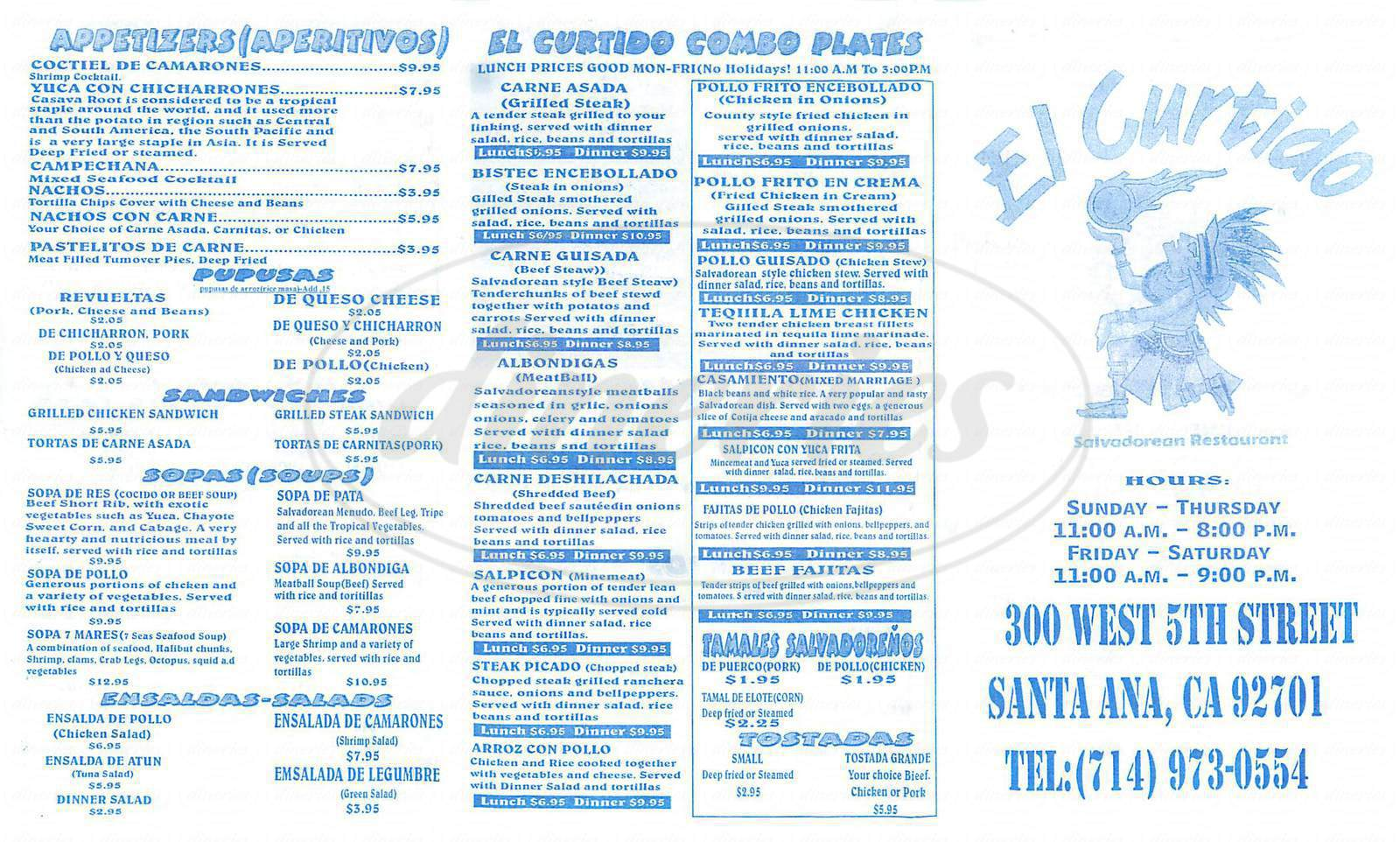 menu for El Curtido