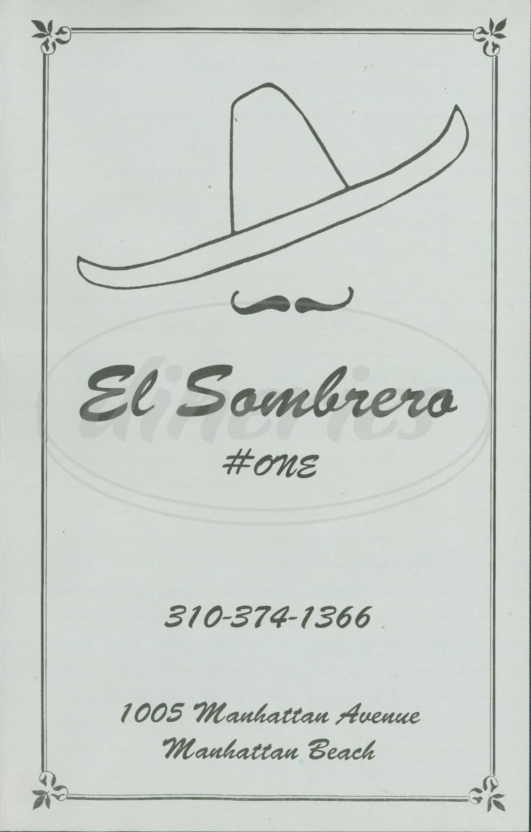 menu for El Sombrero