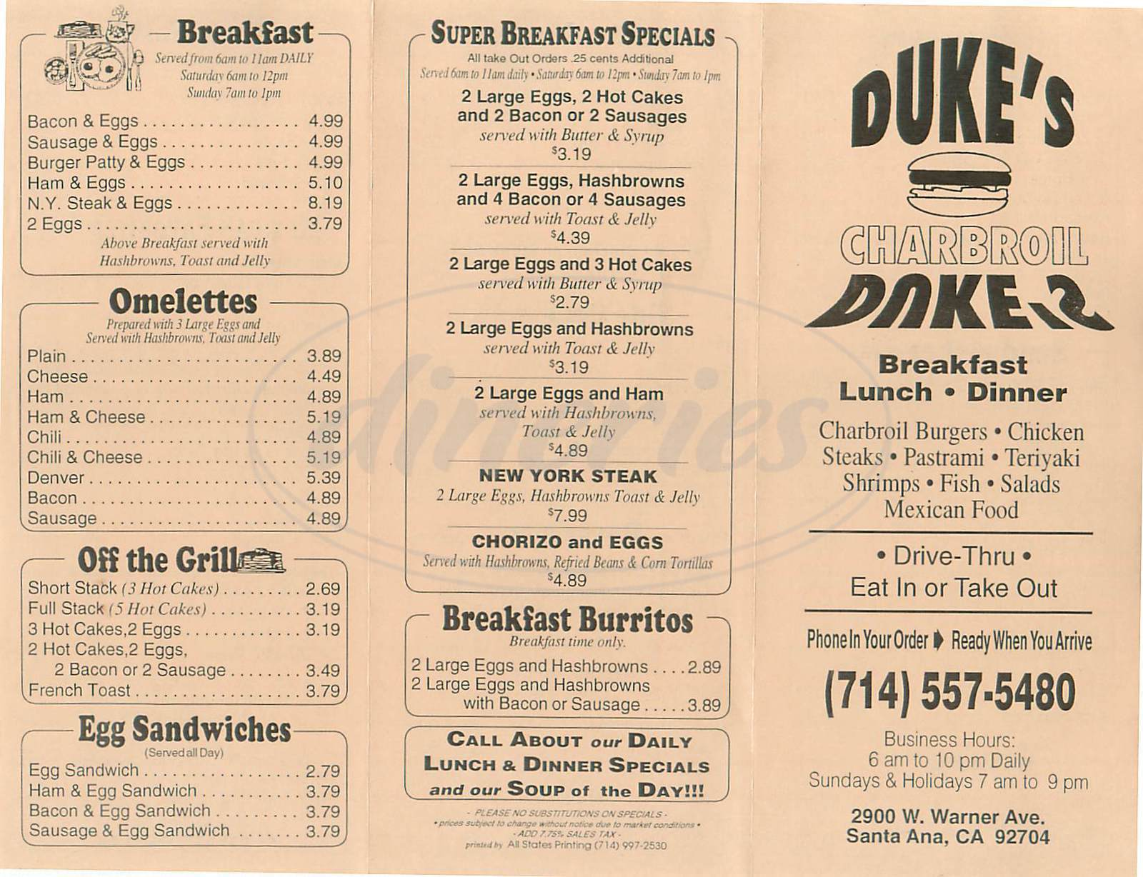 menu for Dukes Charbroile