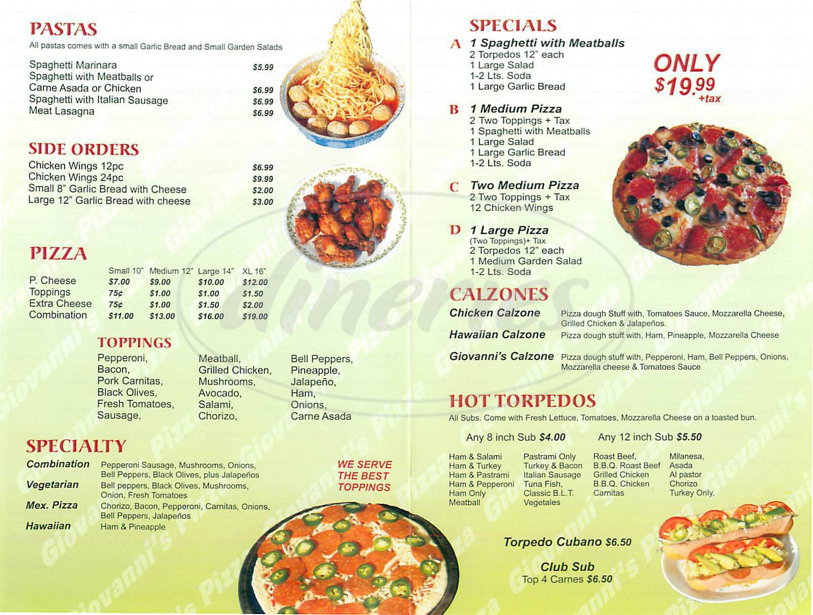 menu for Giovanni's Pizza
