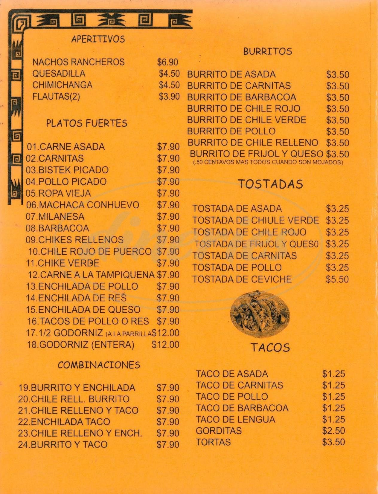 menu for Gilberto's Mexican Restaurant