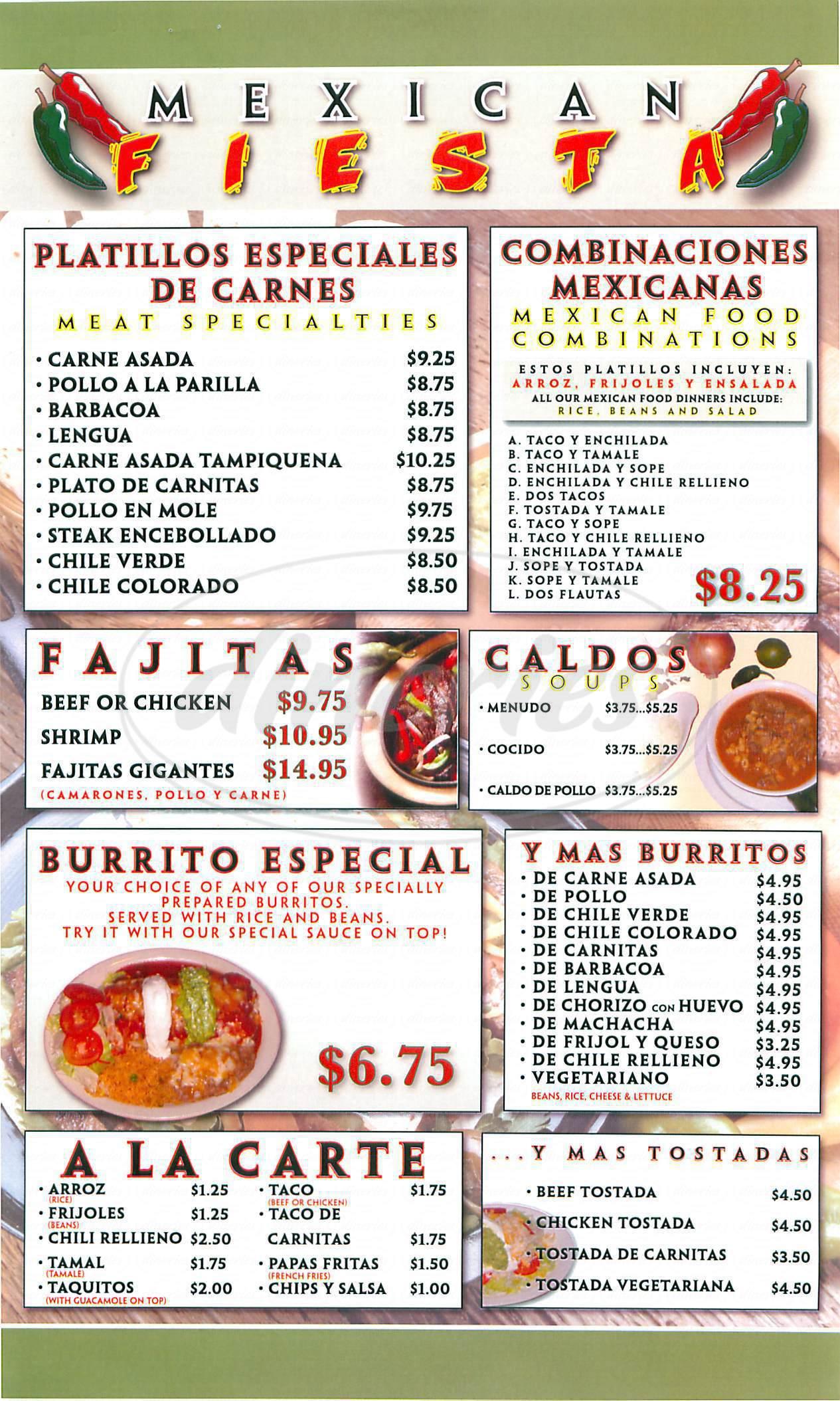 menu for el Tapatio