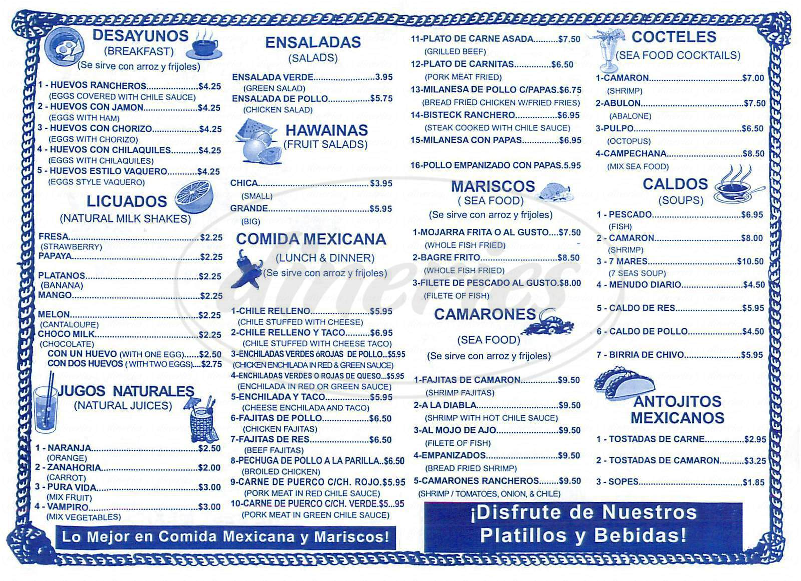 menu for El Taco Vaquero