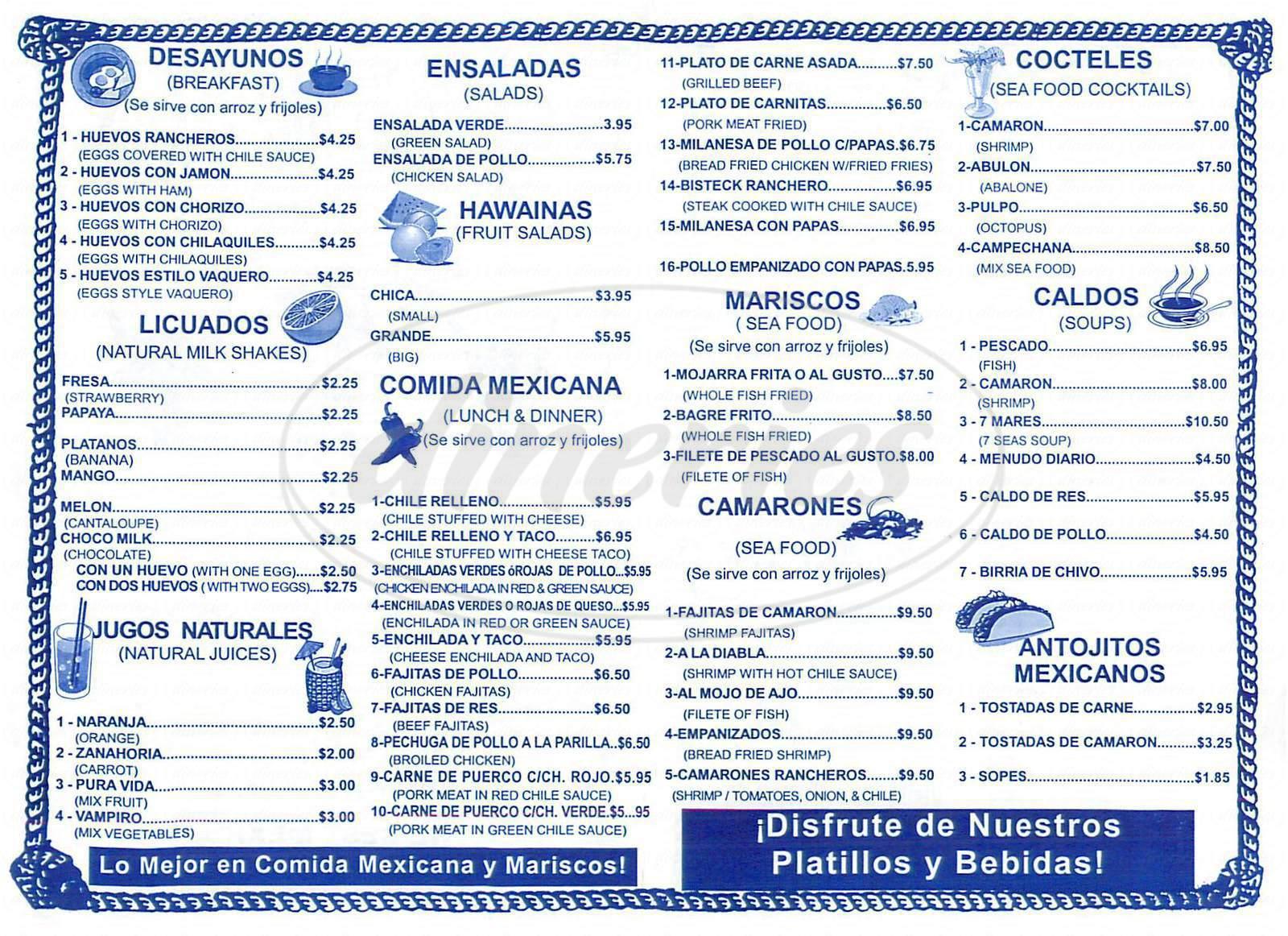menu for El Taco Vaquero
