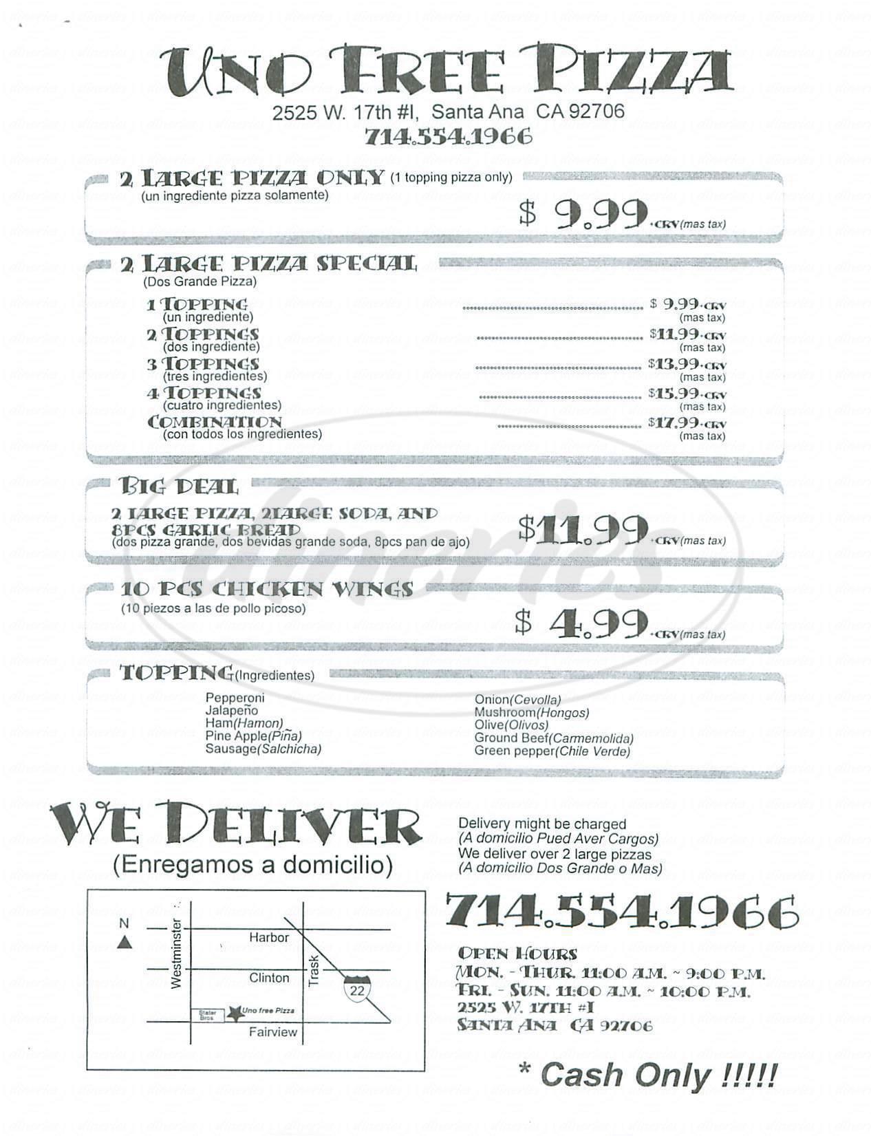 menu for Uno Free Pizza