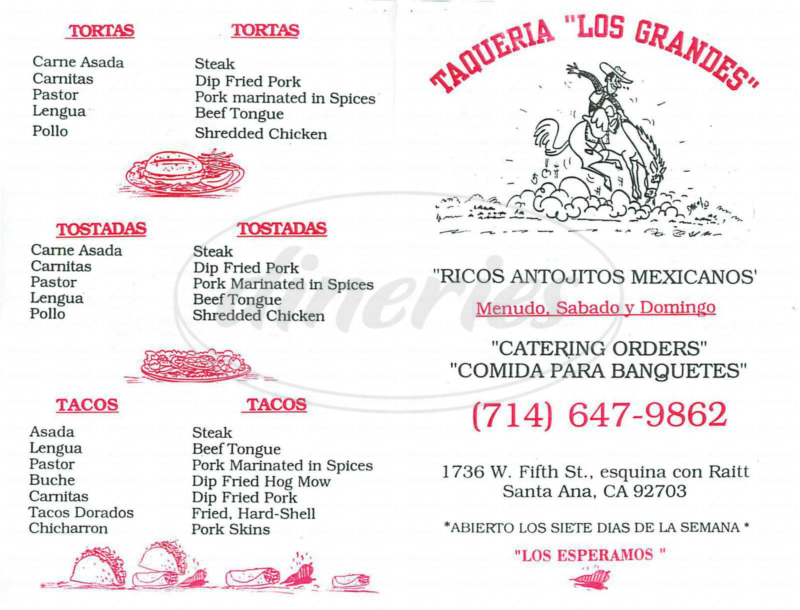 menu for Taqueria Los Grandes