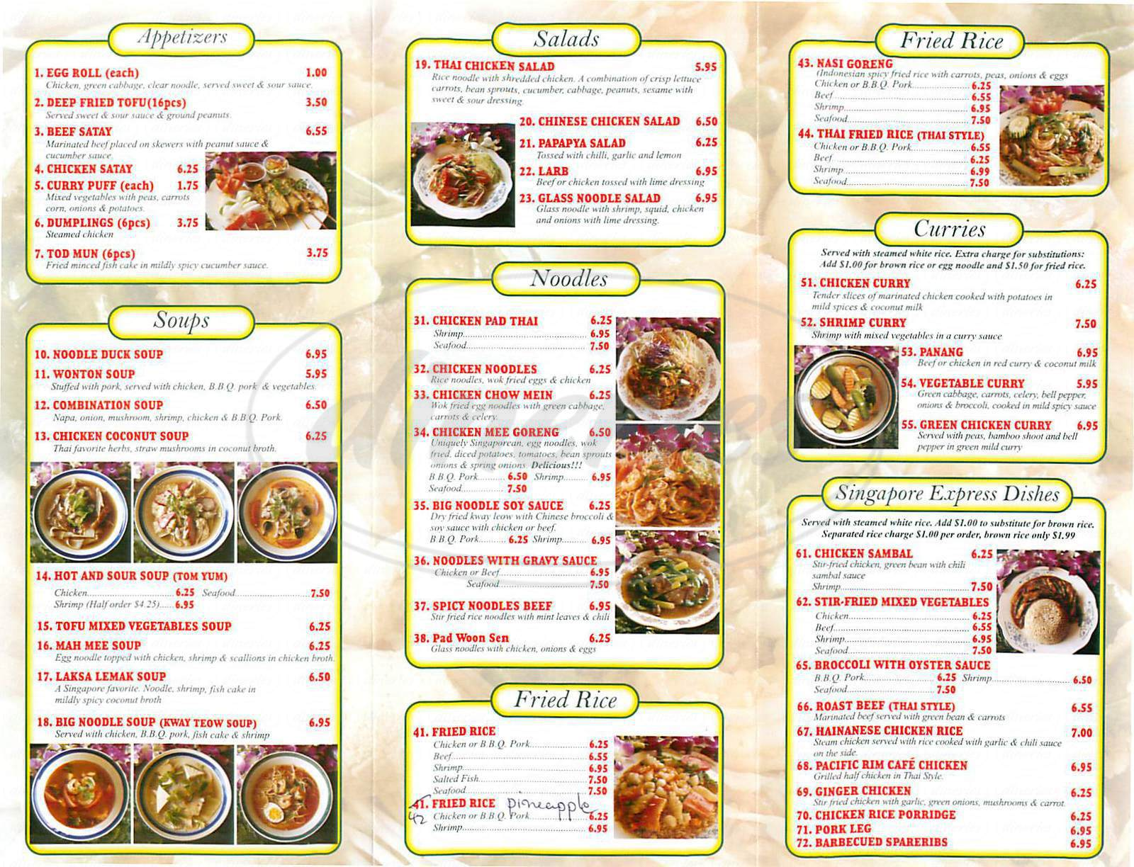 menu for Singapore Express
