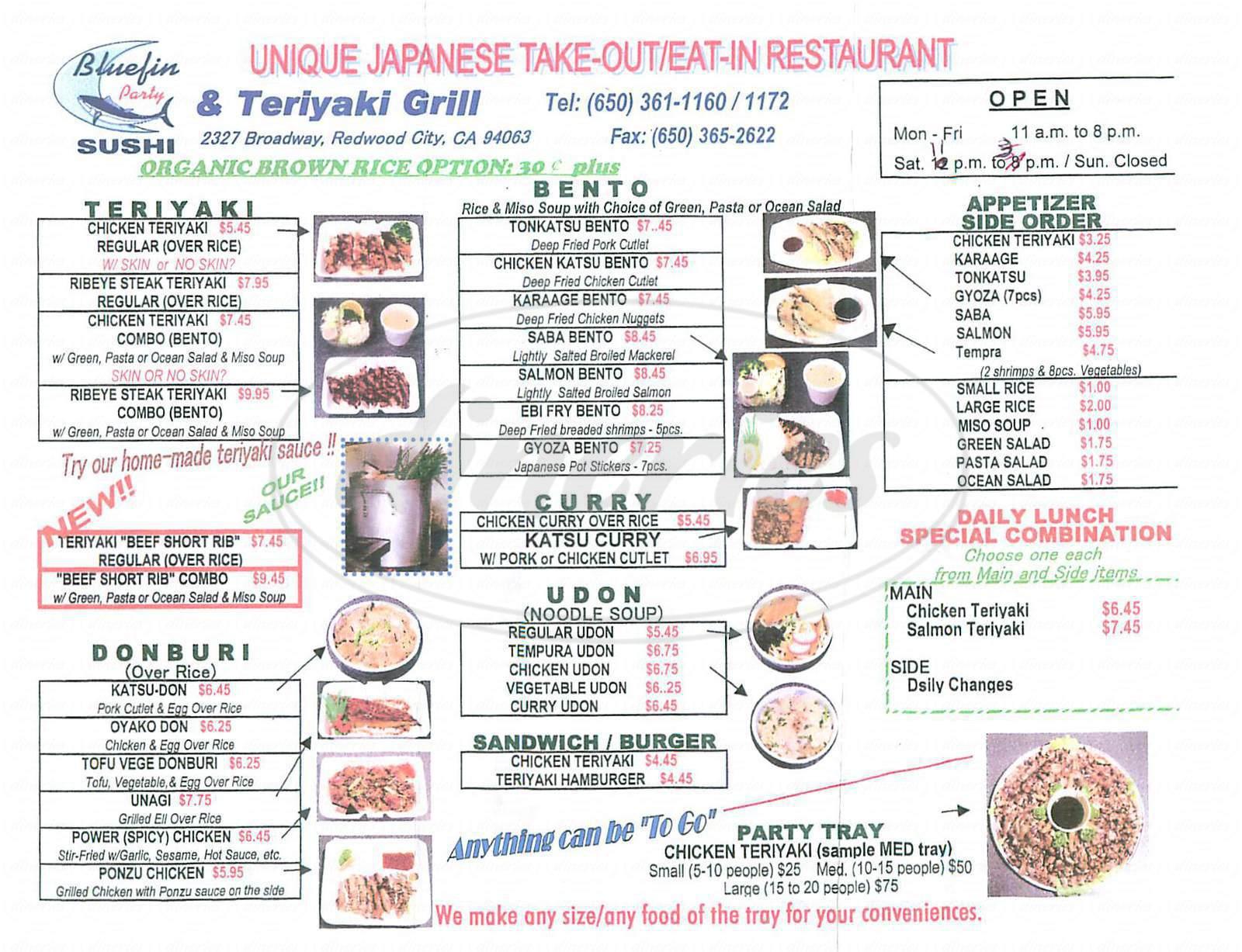 menu for Bluefin Sush & Teriyaki Grill