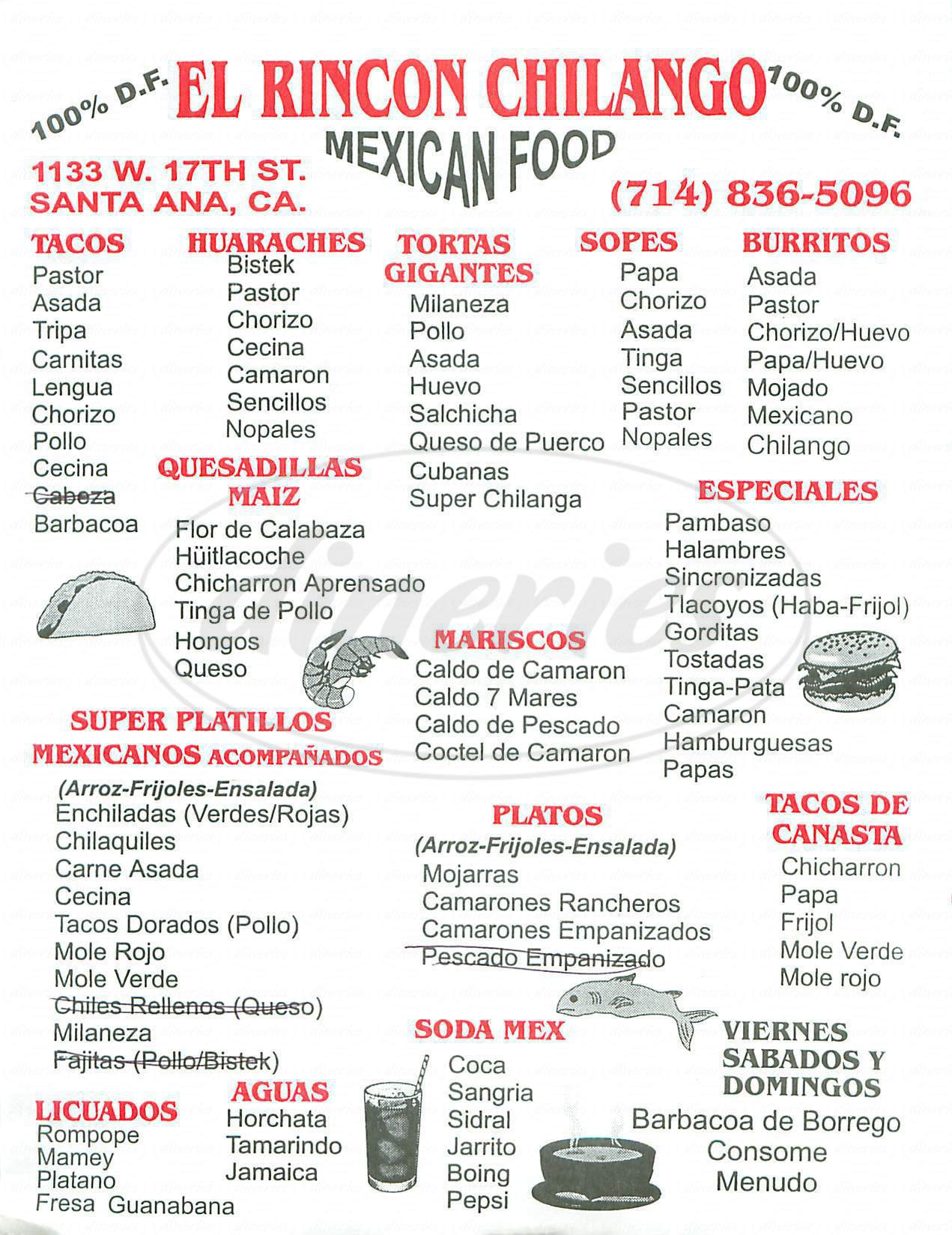 menu for El Rincon Chilango