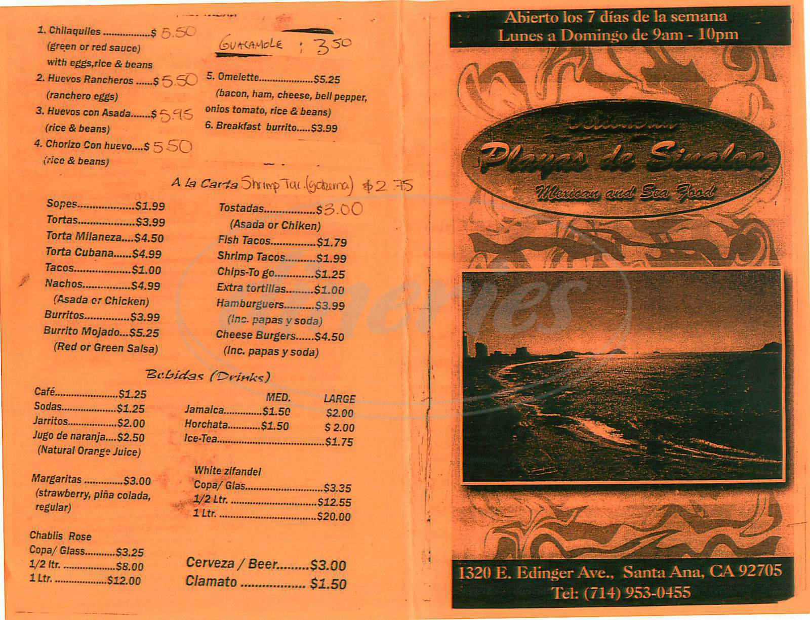 menu for Ostioneria de la Playa