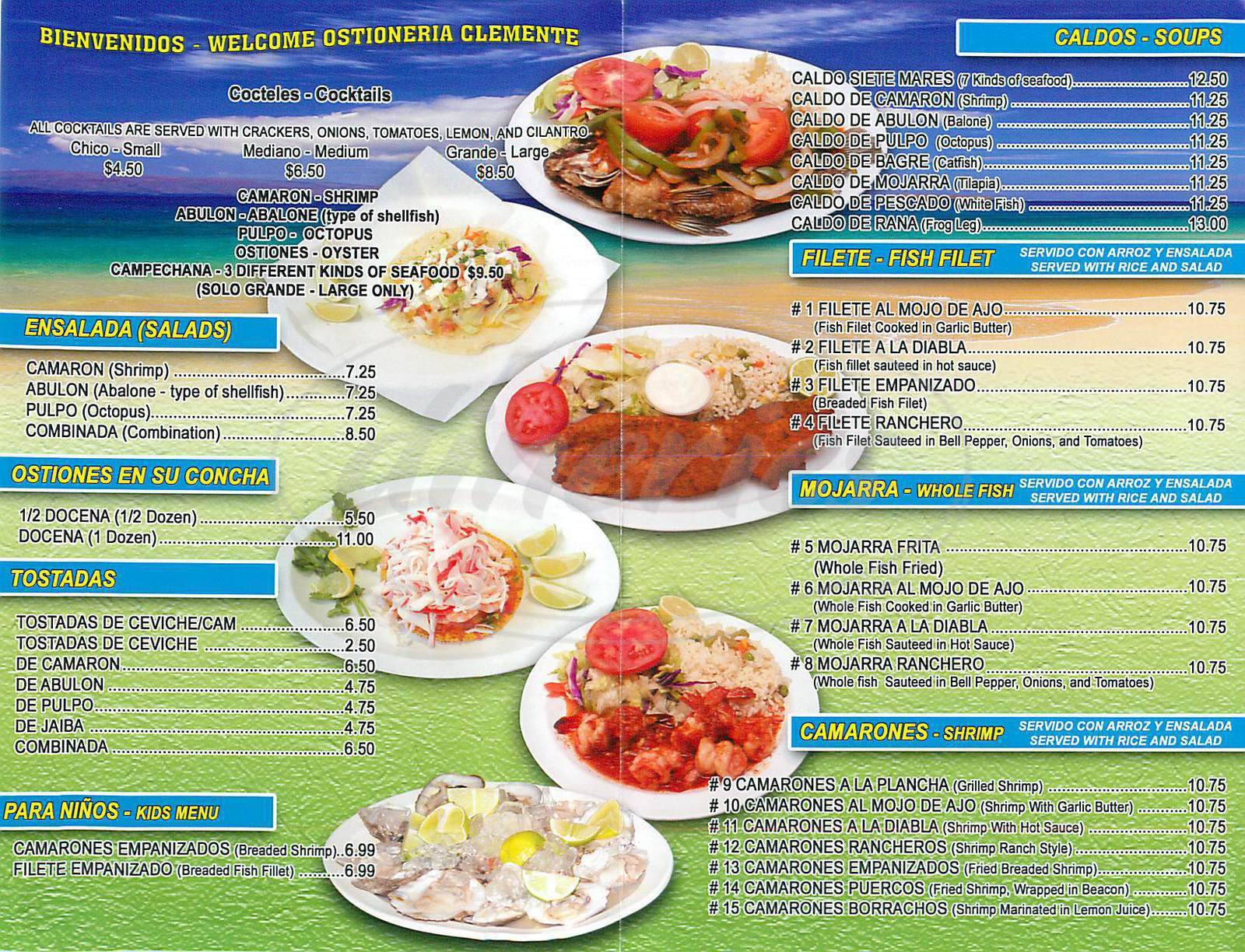 menu for Ostioneria Clemente