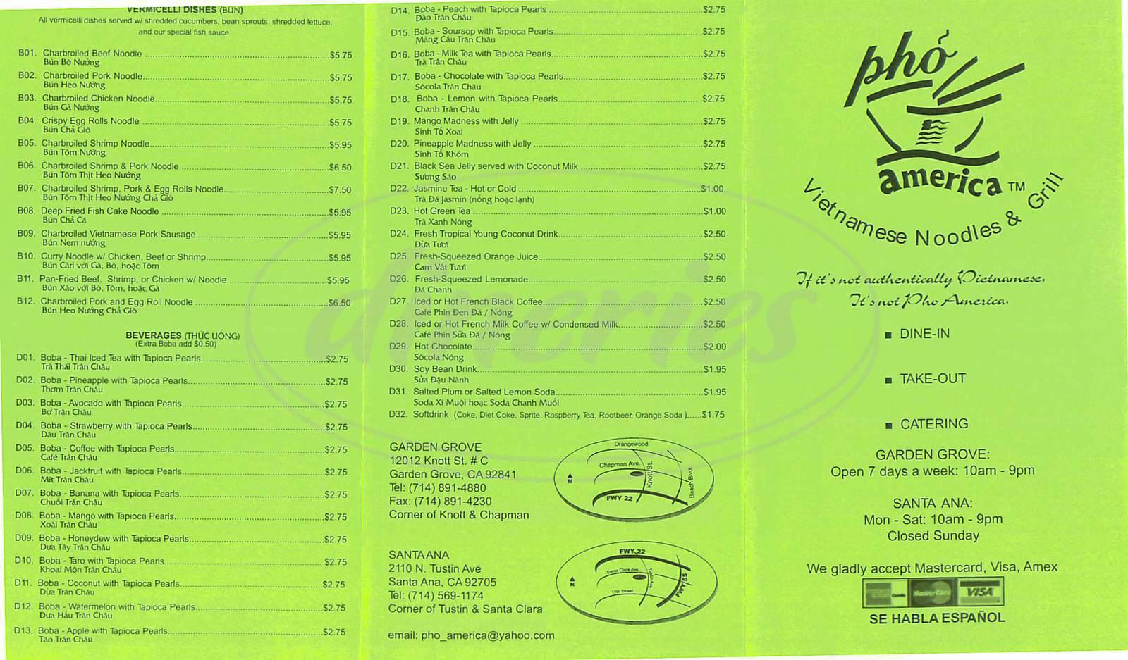 menu for Pho America