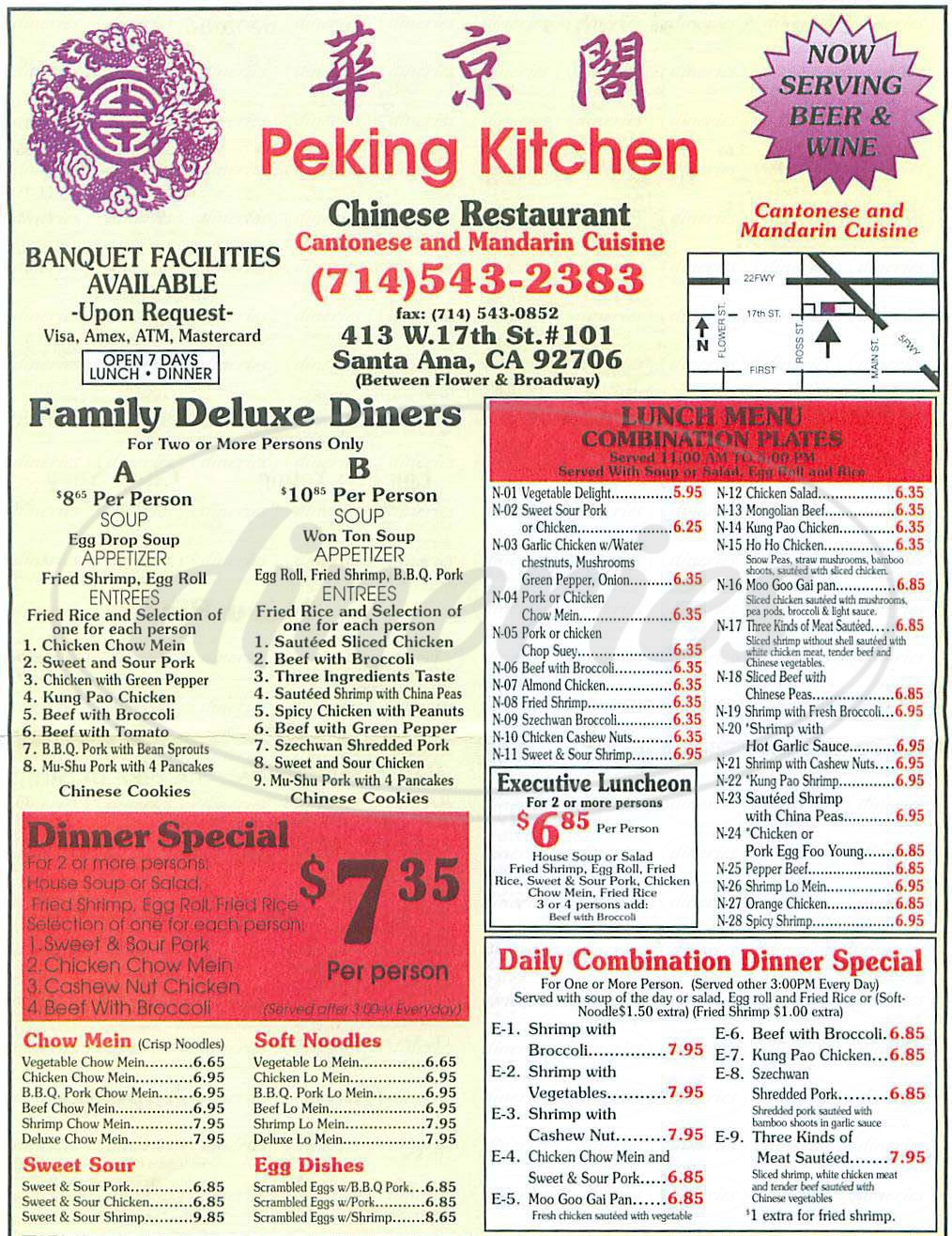 Lovely Menu For Peking Kitchen