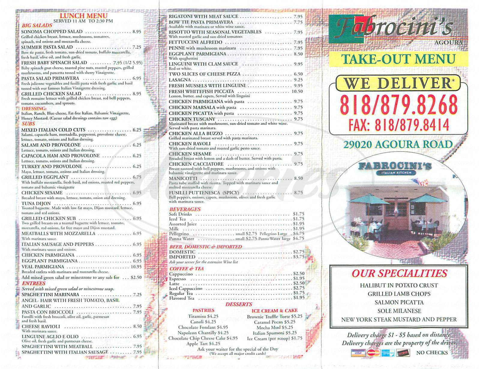 menu for Fabrocinis Italian Kitchen