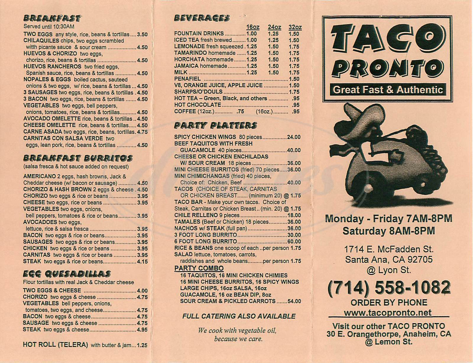 menu for Taco Pronto