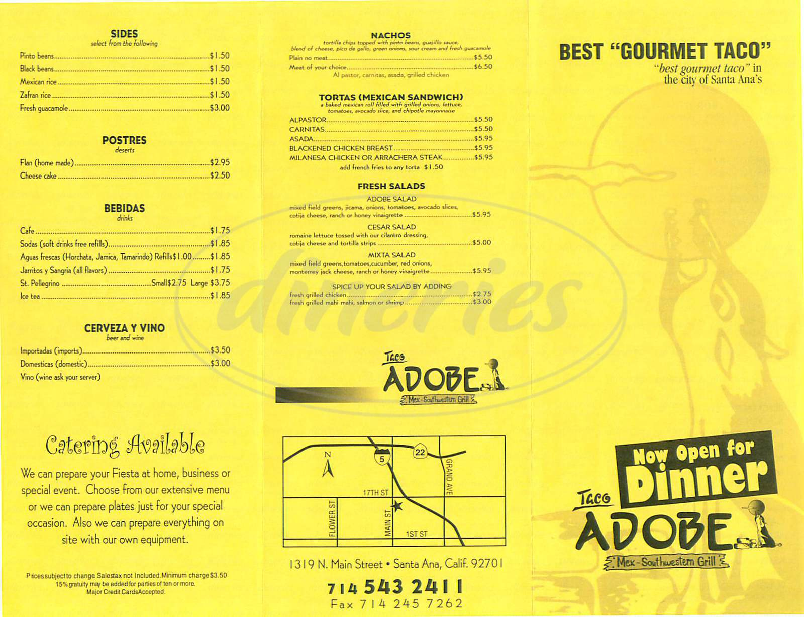 menu for Taco Adobe Southwestern Grill