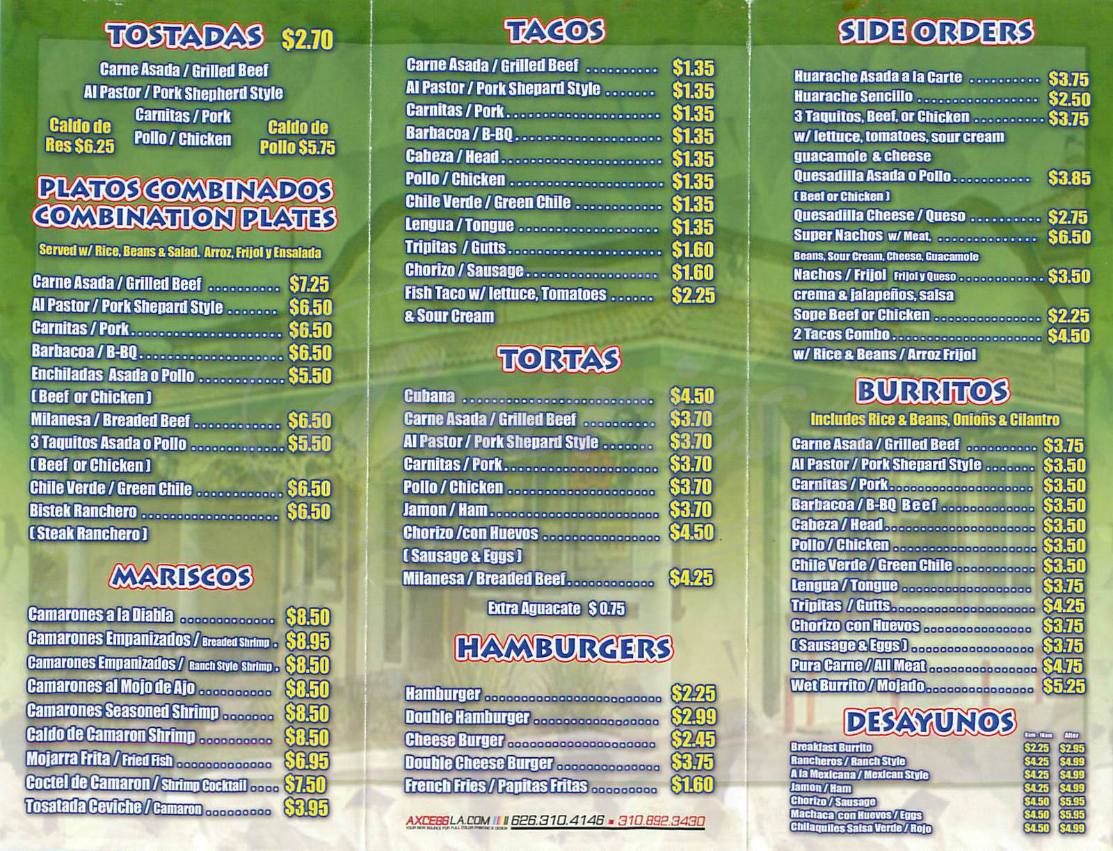 Big menu for Taqueria el Amigo, Santa Ana