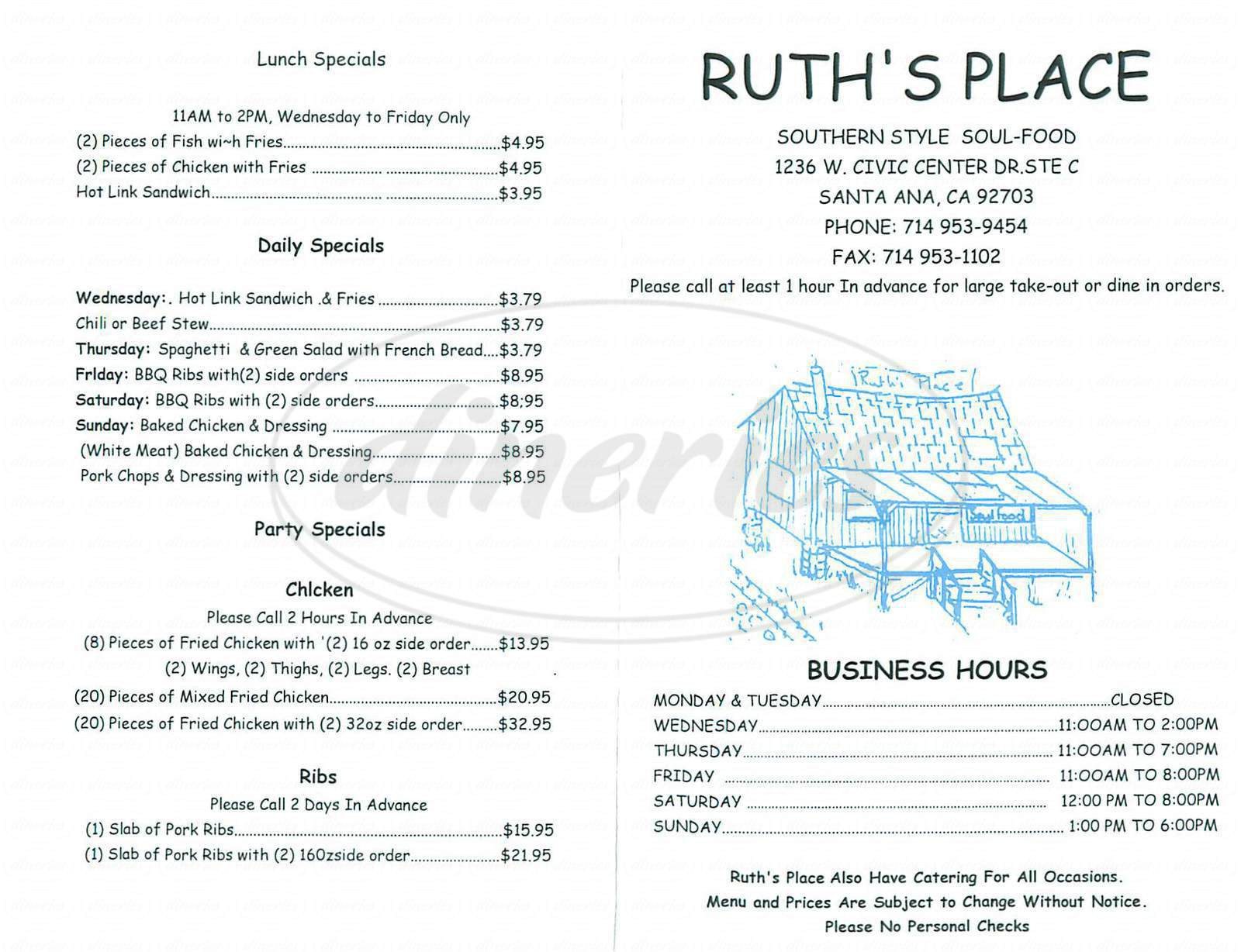 menu for Ruths Place