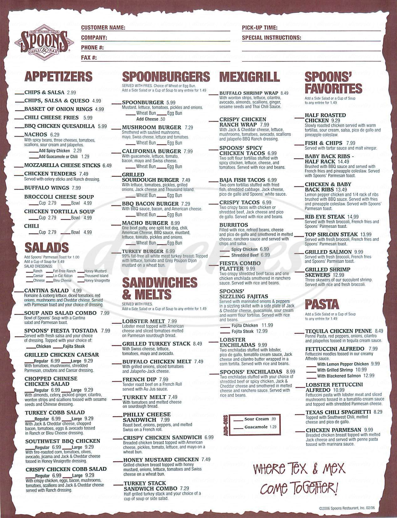 menu for Spoons Grill & Bar
