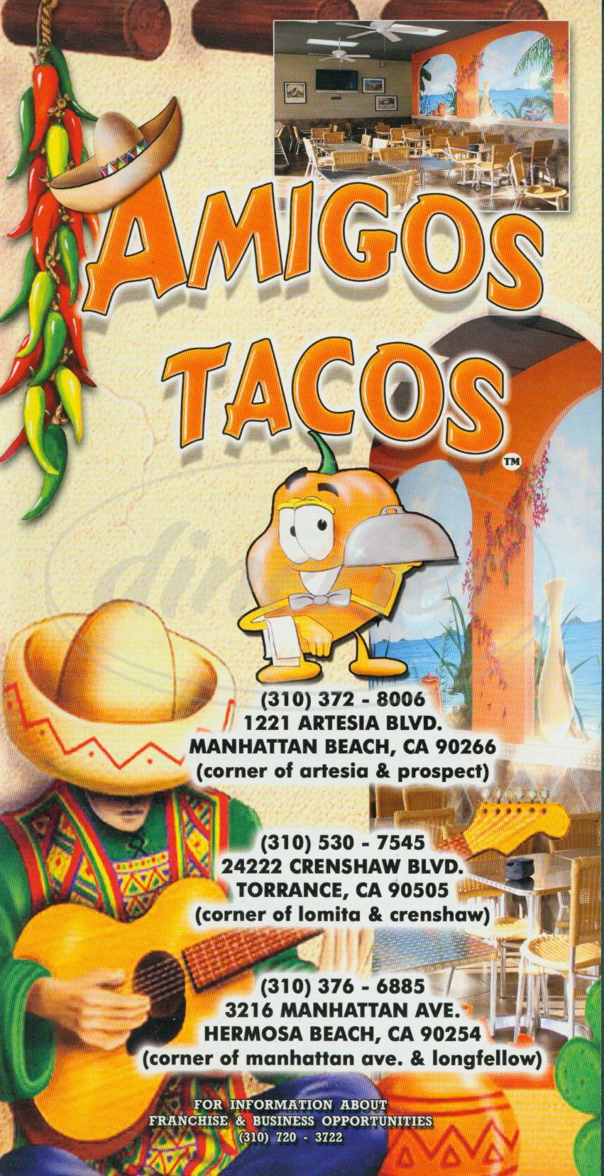 menu for Amigos Tacos