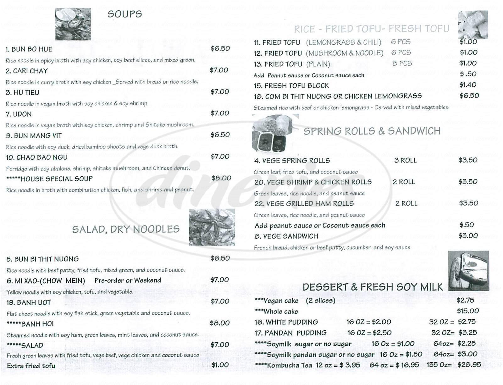 menu for Vinh Loi Tofu